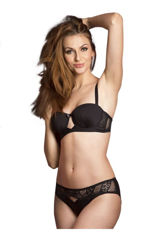 Seduct Stella Rich Coal Black Demi Cup Padded Underwired Bra With Hipster Brief