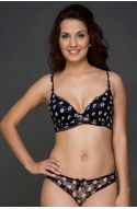 Seduct Senora Pearl Black Floral Romance Padded Underwired Bra With Hipster Brief