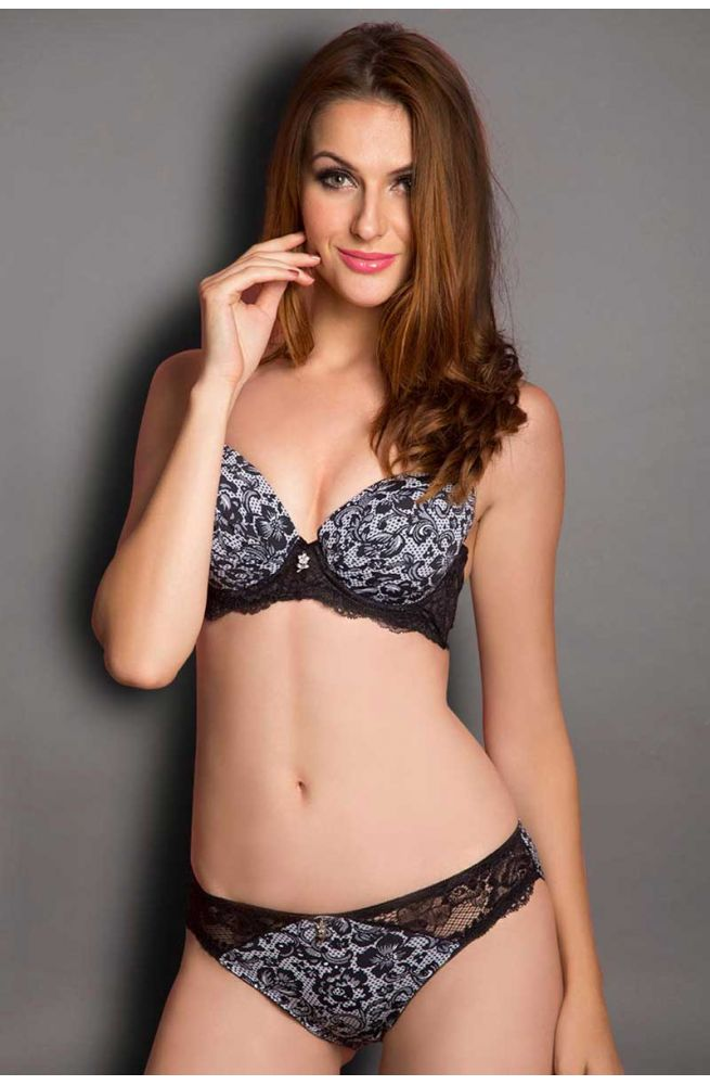 Seduct Orchid Moon Black Perfect Poise Padded Underwired Bra With Hipster Brief