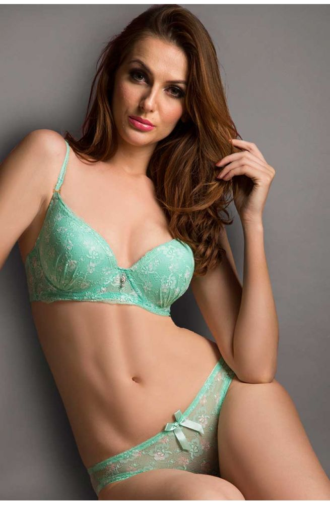 Seduct Senora Tropic Green Floral Romance Padded Underwired Bra With Hipster Brief